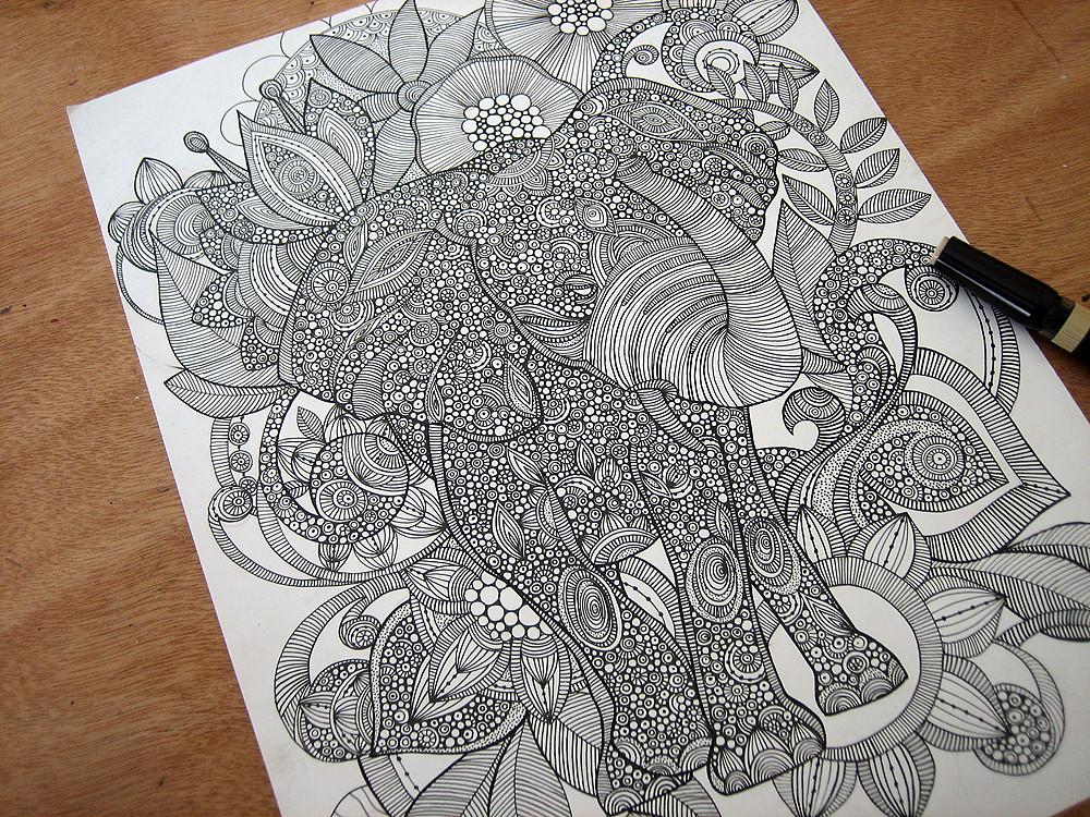 Bo The Elephant Valentinadesign Tags Original Blackandwhite Ink Doodles Valentinaramos Initracte Valentinaharper