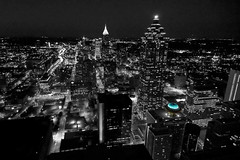 Atlanta Black and White (Blue Restaurant) (RMac_Photography) Tags: blue atlanta blackandwhite bw skyline night ga buildings georgia atl nightime rmac