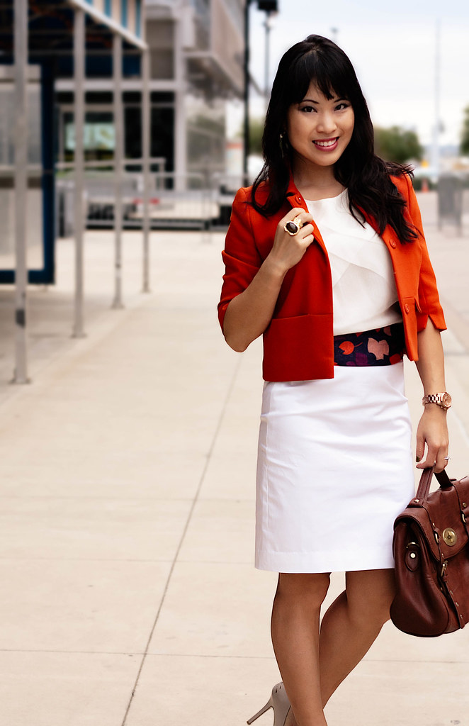 h&m orange swing jacket, banana republic layered pleat blouse cocoon, loft white pencil skirt, tjmaxx vieta lucille buckle satchel, h&m navy leaves scarf, marco santi dash nude pumps, mk5430, romwe arty ring, enzo milano 25mm clipless curling iron
