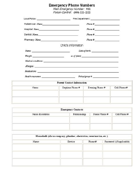 Babies 411 Emergency Contact Information Tools – Emergency Contact Forms