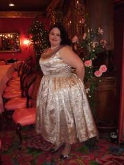 1950s silk brocade dinner dress