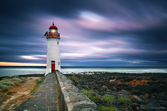 Griffiths Island Lighthouse (-yury-) Tags: ocean longexposure sea lighthouse seascape nature night clouds landscape dusk australia victoria vic portfairy griffithsisland thepowerofnow