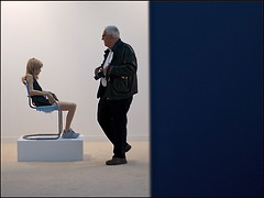 FIAC 2011 (Christian Lagat) Tags: blue sculpture man paris girl wall chair photographer bleu objet mur fille chaise homme photographe grandpalais nikkor50mmf18d nikond90 paris08 fiac2011