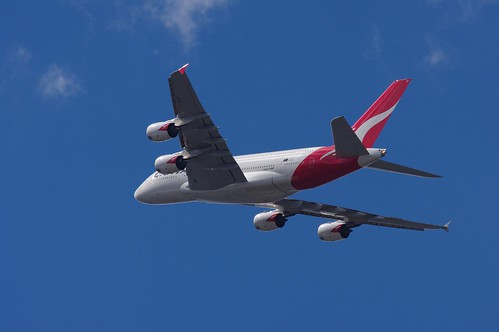 Qantas Airbus A380-842 VH-OQF plane flying over sydney