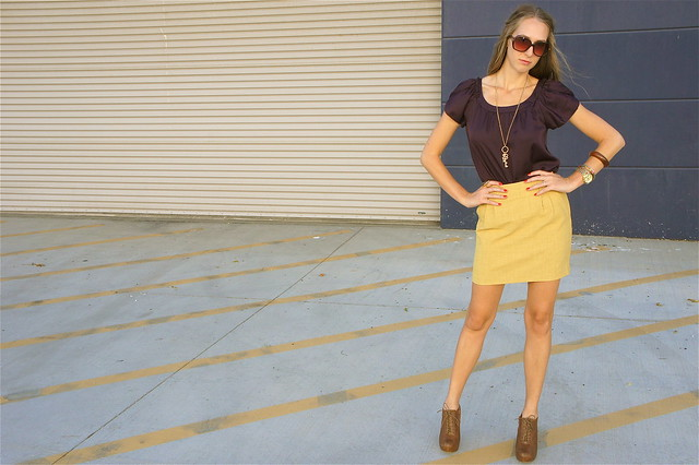 Mustard and plum transition outfit