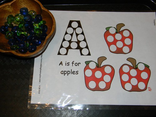A is for Apples Activity Tray using Printable from Making Learning Fun (Photo from Jada Roo Can Do)