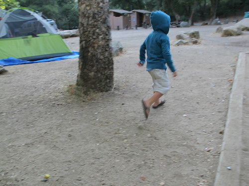 running around in the campsite
