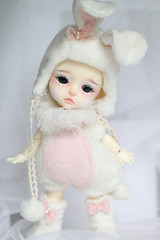 Bunny (Aya_27) Tags: pink people white cute bunny yellow fur real bigeyes doll sad heart bell sweet unique clown special lea bjd lovely custom dollfie limited pierrot pompon dollie latidoll lati sadlook faceupbyandreja enchanted14mmeyes pinkiebell