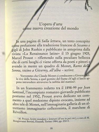 Giuliana Giulietti, Proust e Monet; Donzelli 2011. [resp. grafica non indicata], alla cop.: Claude Monet, Ninfee, effetto sera (part.), 1897, Musée Marmottan. Incipit (part.), 1