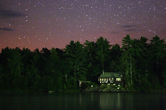 summer lakes (Qinn) Tags: camping trees summer sky lake ontario nature water night stars woods cottage sturgeonbay