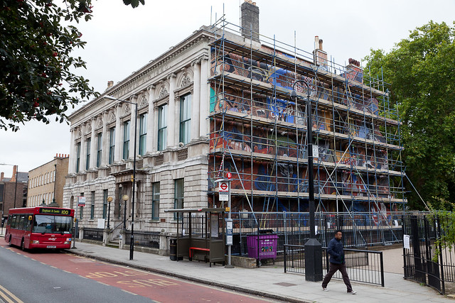 Cable Street Mural covered in scaffolding