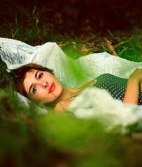 into the woods. (Casey David) Tags: wood red green eye girl leaves forest canon 50mm leaf eyes woods bright lace 14 navy deep 50mm14 polka dot sheets barefoot greenery shorthair sheet redlipstick lipstick leafs forests