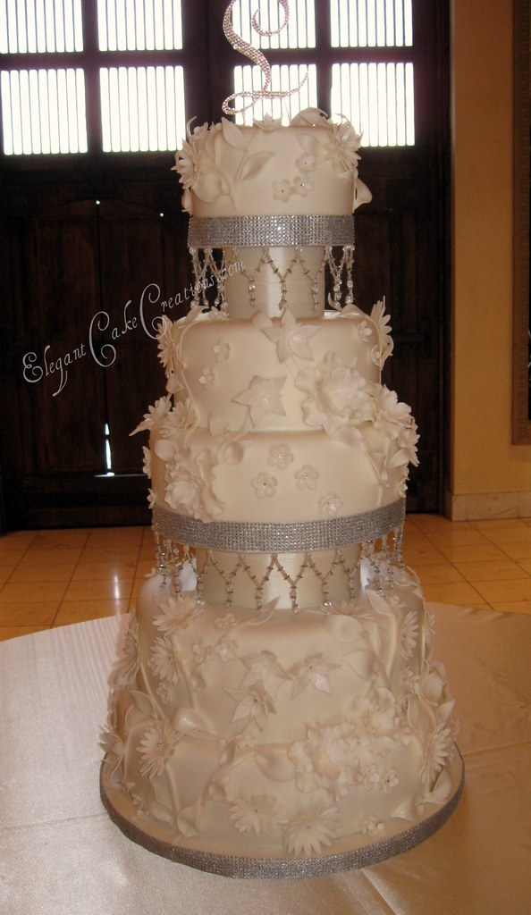 Flowers & Crystals Wedding Cake