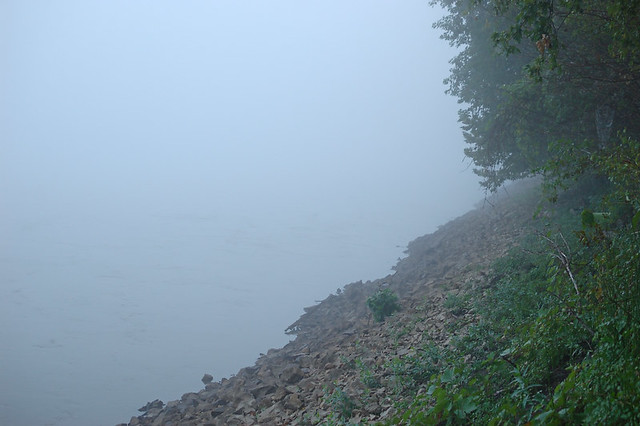 Columbia Bottom Conservation Area, in Saint Louis County, Missouri, USA - Missouri River in fog