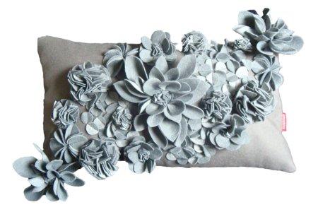 grey floral cushion
