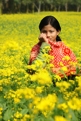 Portrait in Flowers (David_Lazar) Tags: flowers portrait girl yellow scarf bangladesh