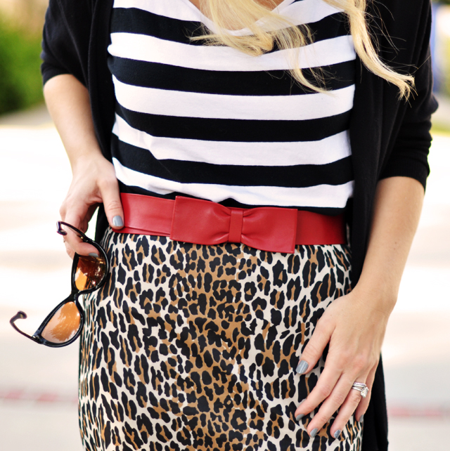 mixing prints-leopard print and  stripes-red leather bow belt