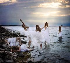 The Return (Leah Johnston) Tags: ocean sea water girl death leah fineart multiplicity spirits johnston whitedress thereturn leahjohnson leahjohnston