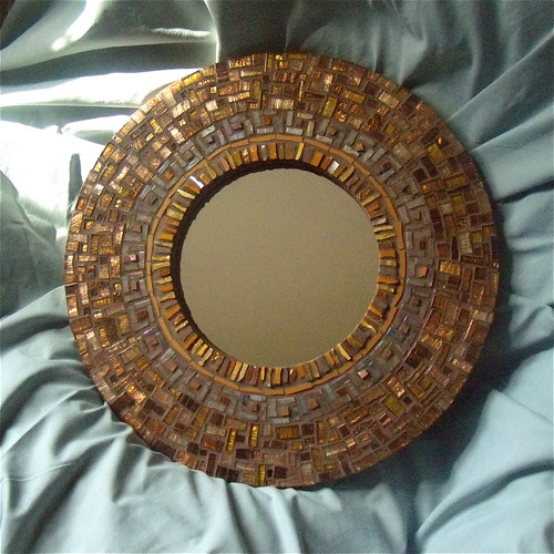 Ochre Round Mosaic Mirror by Margaret Almon, 15""