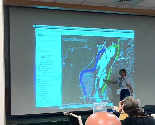 Margaret Chernosky showing water temperature data in Google Earth