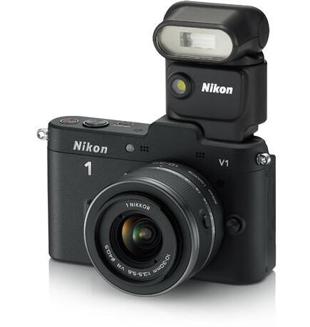Nikon 1 SB-N5 Speedlight Flash mounted on the Nikon 1 V1