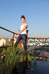"""""""Shooting with Lena"""" (Marcus Blank Photography) Tags: autumn roof sun berlin puddle model bluesky ruine lena greens 365 bluejeans railing beerbottle pocketwizard canoneos7d metz48 efs1585mmf3556 metz50af1"""