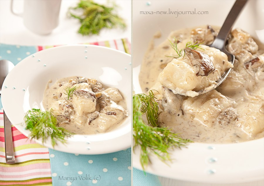 Potato gnocchi in creamy sauce with porcino
