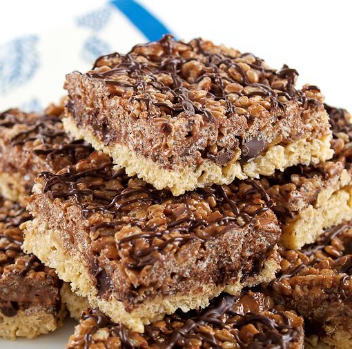 Chocolate Peanut Butter Double Layer Crisp Rice Treats