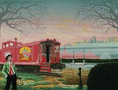 Fairground Station (Mark Longo Art & Design) Tags: art painting design fineart acrylicpainting trainart railroadart marklongo