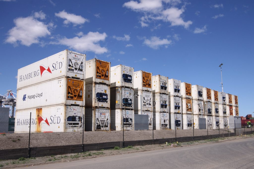 Triple stacked refrigerated containers