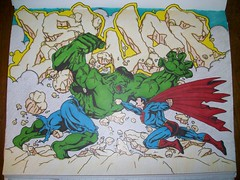 The HULK vs. Superman! Who will win! (*Breeding The Disease*) Tags: black work book sketch comic books battle super 11 superman characters vs 20 hulk sketches cartoons lr lure versus heros blackbook btd hba 2011 b2d 2k11 lewer levn lewor lewr