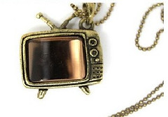2pcs brown color bronze plated nickle free television tv set necklace pendants for diy design@USD3.99 (enquireME) Tags: television charms tvset pendants browncolor bronzeplated