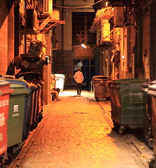 Fag Break (shotlandka) Tags: light mystery night dumpster canon person scotland lowlight alley close glasgow streetphotography atmosphere noflash bin figure rubbish lonely solitary canoneos500d  mygearandme  ringexcellence musictomyeyeslevel1
