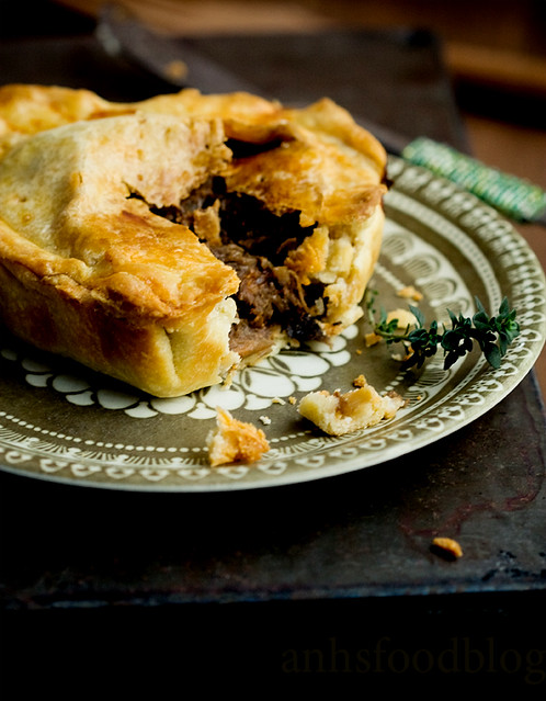 Stewed beef pie in a buttery crust