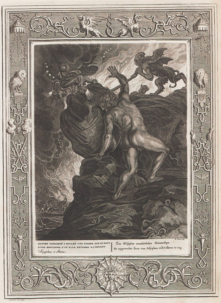 man pushes rock up hill while winged monsters impedes the progress (mythological engraving)