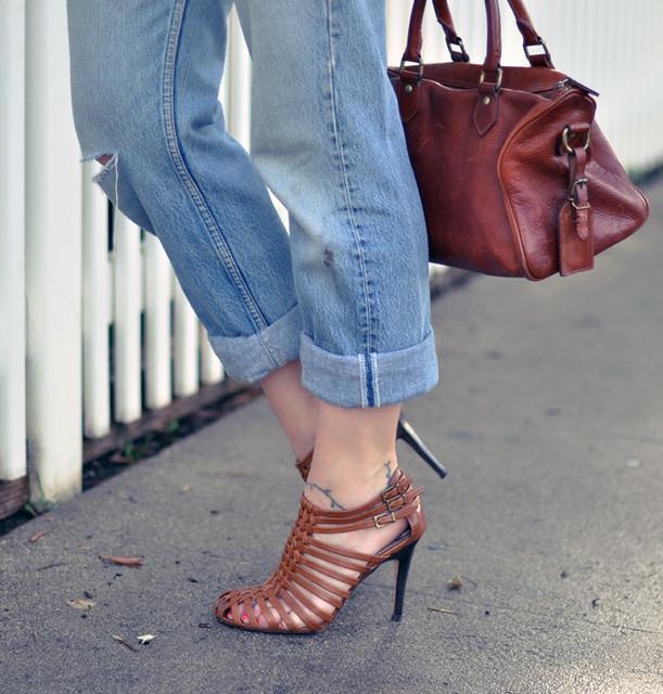 vintage levis-ralph lauren bag- modern vintage heels