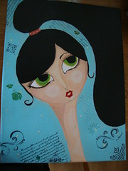 Doll painting (yaeshona) Tags: color pencils paper big eyes doll acrylic nail stickers rubber stamp canvas mat dreams gel gesso paints patterned prisma bigeyedgirls