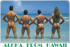 Aloha from Hawaii (fightingforward) Tags: ocean men beach naked nude hawaii postcard butts aloha beachbums