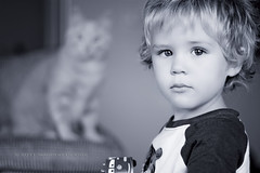 Feline Spectre (Didenze) Tags: boy portrait monochrome cat toddler child bokeh naturallight featuredonadidapcom didenze