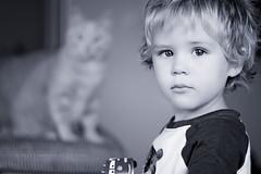 Feline Spectre (Didenze) Tags: boy portrait monochrome cat toddler child bokeh naturallight featuredonadidapcom didenze