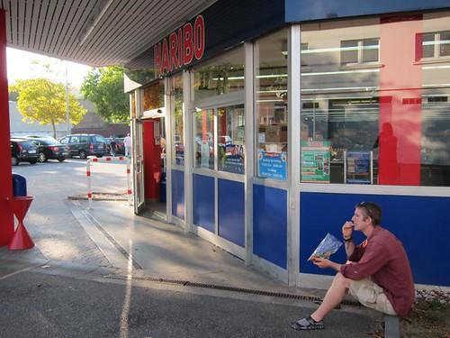 eating candy outside haribo store bonn germany by Danalynn C