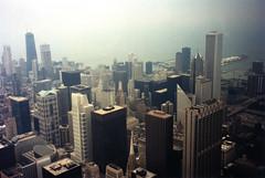 Chicago Skyline As Seen From The Sears Tower - 1996; Film Photograph (hogophotoNY) Tags: city urban usa chicago film skyline skyscraper buildings us illinois midwest unitedstates sears searstower 1996 grain il explore sinatra cityskyline filmgrain chicagoskyline mykindoftown flickrexplore filmphoto cityofchicago hogo illinoisusa uscity hogophoto uscityskyline