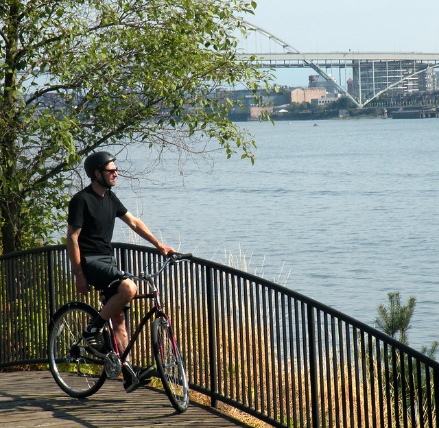 Mike Biking Along the River