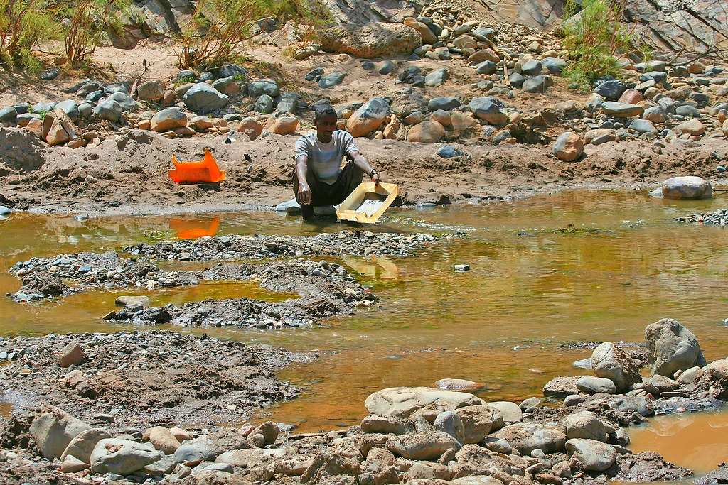 Gold panning ~ Tembien, Ethiopia  - This boy was sent out by his family to find some gold