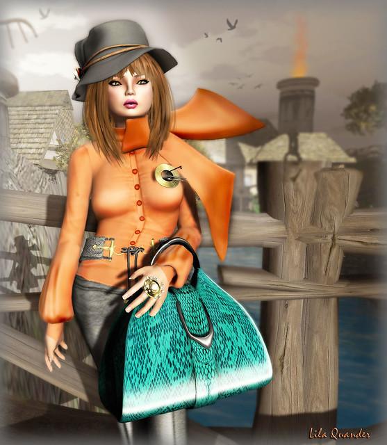 LG Femme_Arina shirt Brandy - scarf & LG Femme_Esfir pants - Jet (Close)