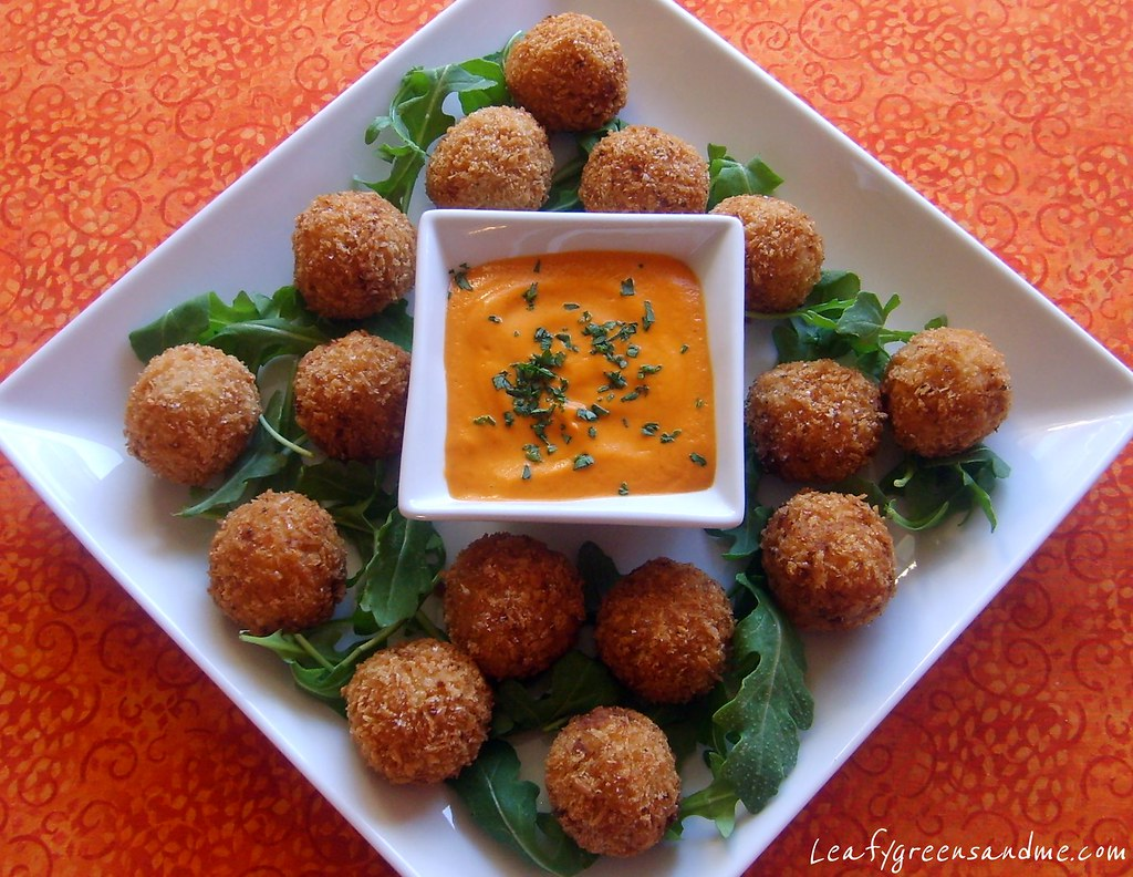 Saffron Arancini with Romesco Sauce | Leafy Greens and Me