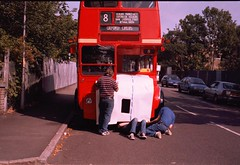 RML3 being covered up prior to the RM50 event (nickabbott_2000) Tags: london transport prototype routemaster leyland rebuilt weymann rm3 rml3 rm50