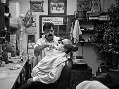 Even the greatest beards known to man need to be shaved, Tarlaba - Istanbul (adde adesokan) Tags: street blackandwhite bw white man black pen turkey beard asia asien europe candid trkiye streetphotography olympus istanbul trkei shaving barber sw mann schwarzweiss schuhe schwarz shaver ep1 beyolu shavingfoam streetphotographer m43 mft tarlaba mirrorless microfourthirds theblackstar mirrorlesscamera streettogs addeadesokan