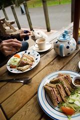 Snack time for Hunny (louisahennessysuou) Tags: lunch tea sandwich teapot stridwood wharfedale boltonabbey riverwharfe wharfe hamsandwich thestrid hamandcheesesandwich wensleydalecheese