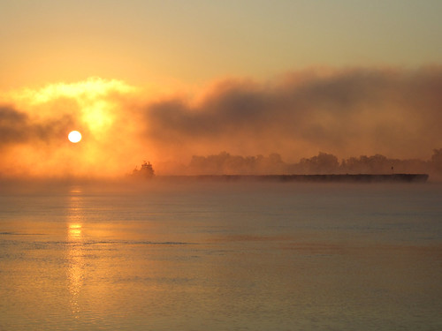 Barge in the Mist of the Ohio River at Sunrise